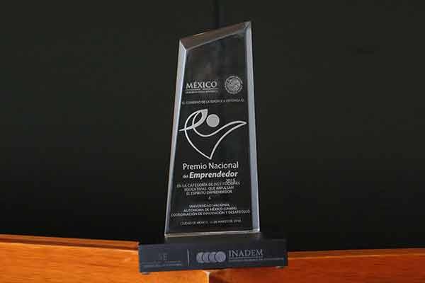 La Universidad Nacional Aut�noma de M�xico obtuvo el primer lugar del Premio Nacional del Emprendedor 201