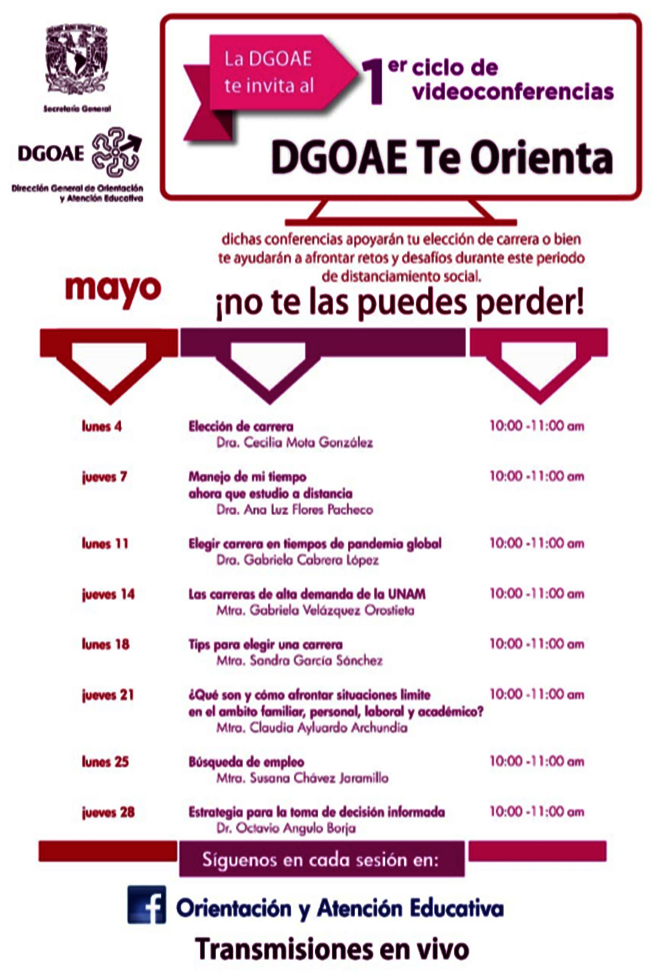 Inicia la UNAM ciclo de conferencias en línea sobre orientación ...